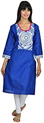 Goodyygoods Women's Cotton Regular Fit Kurti (GG 35, Blue, X-Large)