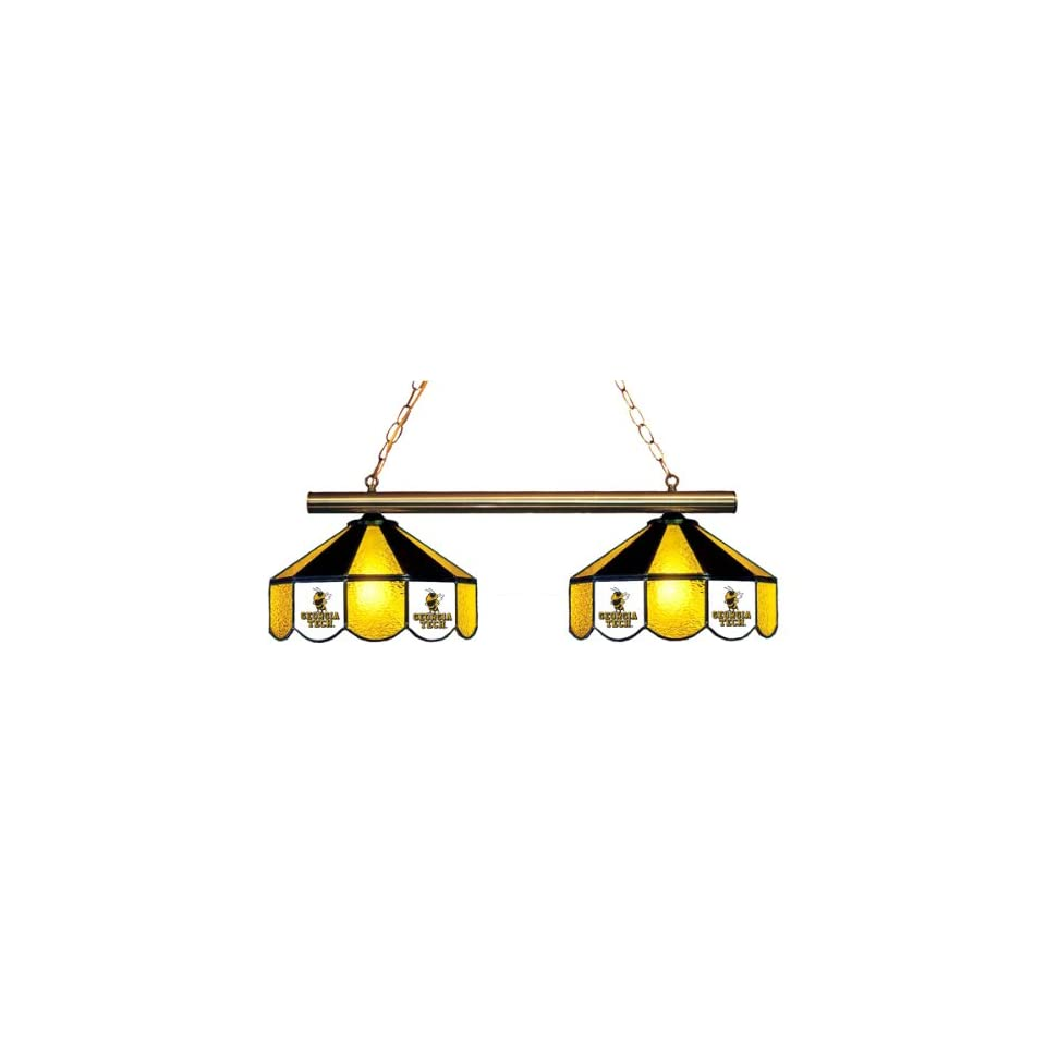 Georgia Tech Yellow Jackets 2 Light Stained Glass Hanging Lamp