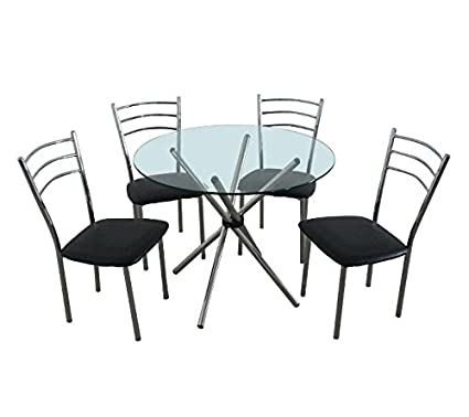 Contemporary 5 Piece Dining Set - Combines Style And Practicality - Perfect For The Modern Home - Includes Glass Top Round Table And 4 Chairs
