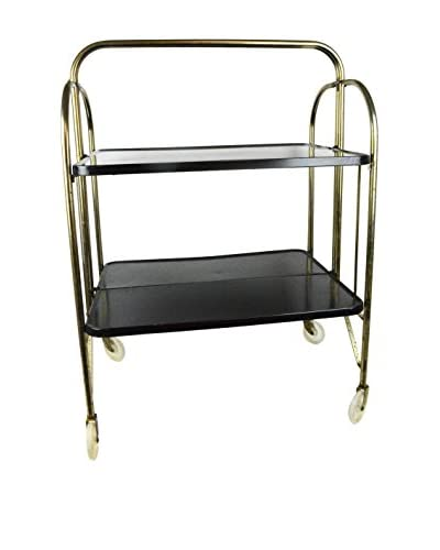Aviva Stanoff Fold Up Roller Table, Black/Gold