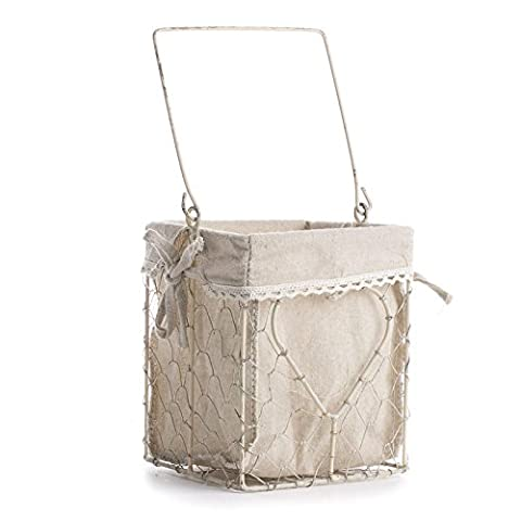 Factory Direct Craft Versatile Square White Washed Chicken Wire Basket With Natural Linen Liner and Heart Accent in Middle for Home Decor and Organizing