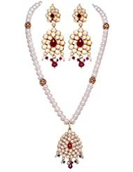 Gehna Pearl, Ruby & Pink Tourmaline Gemstone Studded Pacchi Set