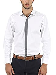 Nick&Jess Mens White-Grey Contrasting Slim Fit Dress Shirt(STEAL DEAL-LIMITED TIME ONLY)