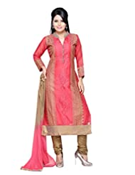 Charu Boutique Peach Silk Embroidered Churidar Suit