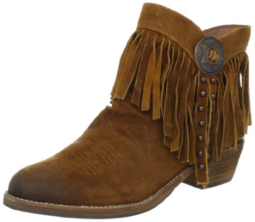 f82206d97b93 Fringed leather ankle boot  tonal stitching design details on toe and  around collar  interior zip closure  studded fringes lace through round  metal buckle ...