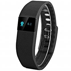 eshop24x7 Smart BLACK Bracelet Sport Gym Unisex Watch Call Step Calorie Fitness Tracker Pedometer Counter Reminder for Android Samsung HTC Windows and IOS Apple iPhone Smartphone