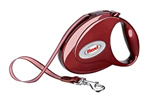 Flexi Elegance Retractable Leash, Small/Medium, for Dogs up to 55 lbs, Ruby Red