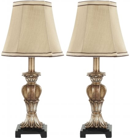 Safavieh Lighting Collection Gabriella Gold Mini Urn 17-inch Table Lamp (Set of 2) (End Table Lamps Set Of 2 compare prices)