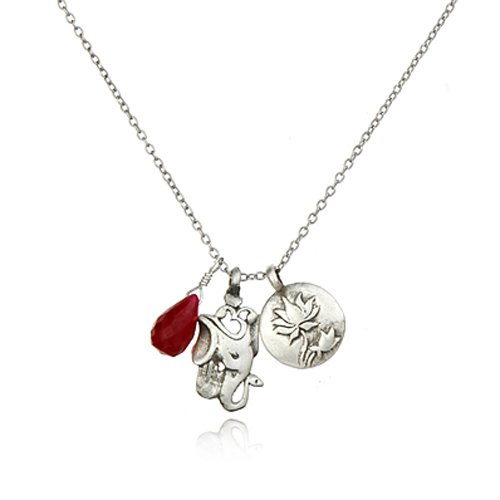 Satya Jewelry Silver Ruby, Lotus, Ganesha Pendant Necklace