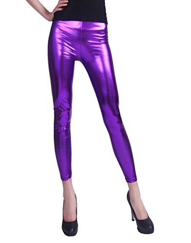 Womens Shiny Wet Look Metallic Stretch Leggings - Choice of Colors - up to 2XL