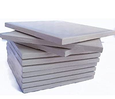 """Glossy Cream Colored Set of 10 Ceramic Tiles 4 1/4"""" By 4 1/4"""" Each Great for Painting, Craft Projects, Mosaic Tile, Tile Projects by Interceramic"""
