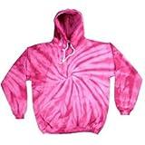 Tie-Dye Sweatshirt ~ Pullover Hoodie Sweatshirt with Pockets ~ Spider Pink (Medium)