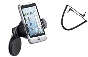 Fonus Brand UNIVERSAL Expandable 360 degree Rotatable Car Windshield Holder Mini Swivel Window Mount Dock Dash Stand fits T-Mobile LG G2x (Package Includes a 3.5mm Car Auxiliary Cable)
