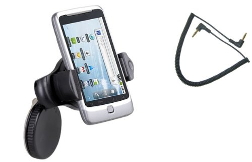 For Sale Fonus Brand UNIVERSAL Expandable 360 degree Rotatable Car Windshield Holder Mini Swivel Window Mount Dock Dash Stand fits Sprint HTC Evo 4G (A9292 / Supersonic) (Package Includes a 3.5mm Car Auxiliary Cable)