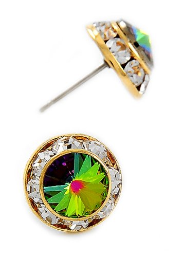 Gold Tone Vitrail Medium Swarovski Crystal Round Buttons Post Earrings