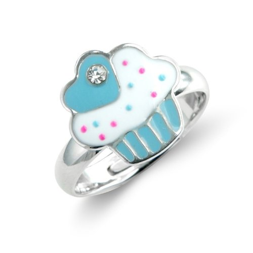 Blue Children's Cup Cake Ring - Childrens Adjustable Ring - Matching necklace and earrings available - will arrive in gift bag