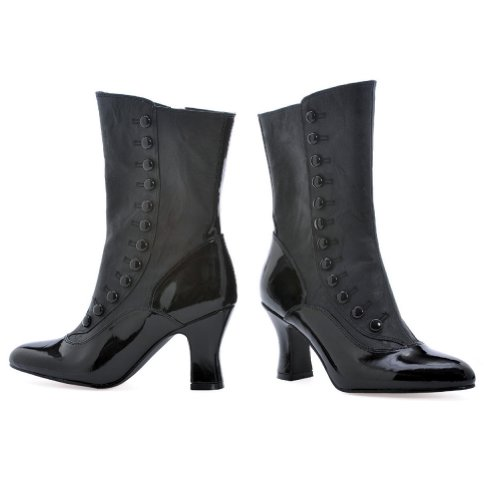 2.5 Inch High Heel Black Victorian Calf Boots Halloween Costume Accessory Sexy Boots