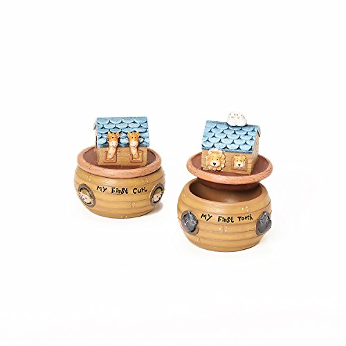 "Roman Exclusive ""Noah's Ark"" Hand Painted Keepsake Box Set Incised with ""My First Tooth"" and ""My First Curl"", 3-Inch Tall - 1"