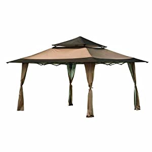 ShelterLogic Royal Pavilion Pop-Up Straight Leg Gazebo Canopy (2-Piece) with Roller Bag, 13x13-Feet, Desert Bronze