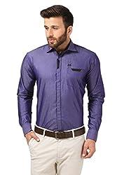 Mesh Full Sleeves Casual Cotton Blended Shirt for Men's/Boy's (Purple) -38