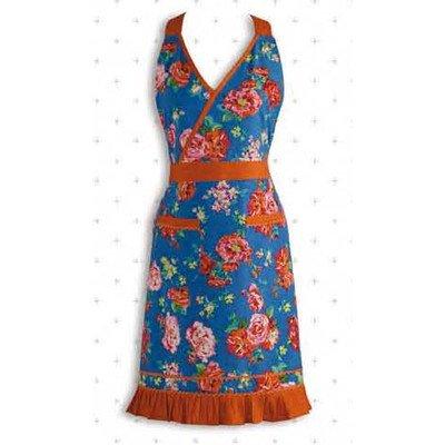 Designimports Home Dining Food Service Apparel Accessories Blue Floral With Orange Ricrac Vintage Apron