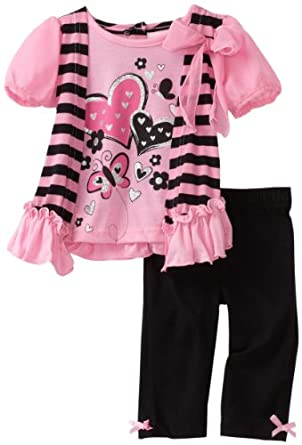 Little Lass Baby-Girls Infant 2 Piece Cozy Hearts Cropped Legging Set, Pink, 24 Months