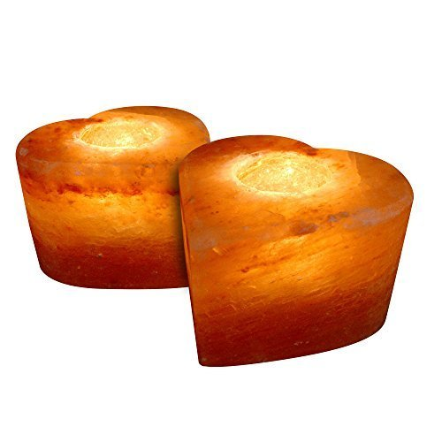 Crystal Allies Gallery: CA SCH-HEART-2pc Pack of 2 Natural Himalayan Heart Shaped Salt Tealight Candle Holder Air Purifier & Ionizer w/ Authentic Crystal Allies Info Card