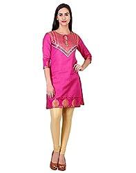 Zooraa Pink Tussar Silk Kurti(L)