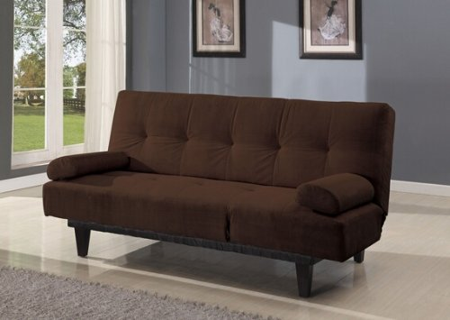 Cybil brown microfiber fabric upholstered adjustable sofa futon bed with tufted back and adjustable side rest