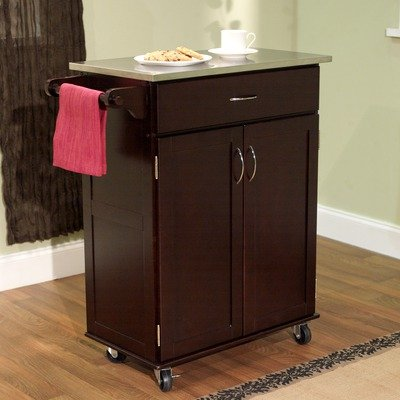 Cheap Kitchen Cart with Stainless Steel Top in Espresso (60045ESP)