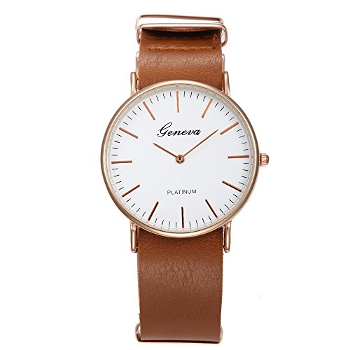 Coo Watches Women's Casual Business Style Buckle Clasp Quartz Wrist Watches with PU Leather Band-Brown