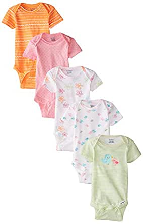 Amazon Gerber Baby Girls Five Pack Variety Bodysuits
