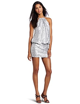 laundry BY SHELLI SEGAL Women's Sequin Blouson Cocktail Dress, Silver, 0