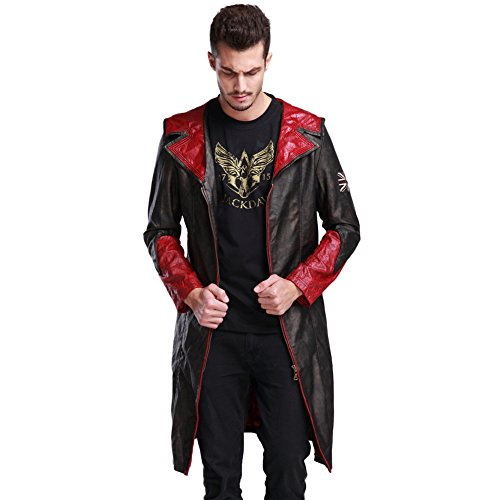 FireLionPlus Men's Leather Coat Jacket Cosplay Costumes for Devil May Cry 5 DMC Dante