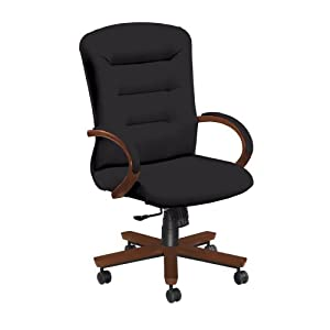 National Office Furniture Remedy High Back Executive Wood Office Chair, Amber Cherry, Black Faux Leather