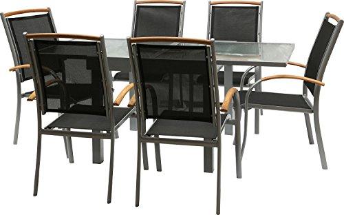 IB-Style-DIPLOMAT-Quadro-Gartengarnitur-6-Kombinationen-mit-Stapelsthle-Alu-SILBERMATT-TEAKHOLZ-Textilen-SCHWARZ-6-Kombinationen-Ausziehtisch-mit-Sicherheitsglas-90-180-cm-Stapelsthle-Gartenmbel-Hochl