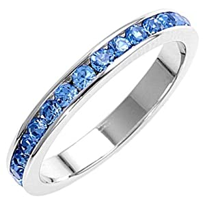 Tressa: 0.96ct Blue Topaz Russian Ice on Fire CZ Stackable Eternity Band Ring, 0757 sz 4.0, 925 Silver