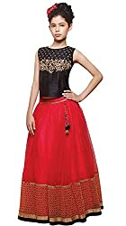 Awesome Fab Red & Black Colour Net Semi-stitched Embroidered Lehenga Choli