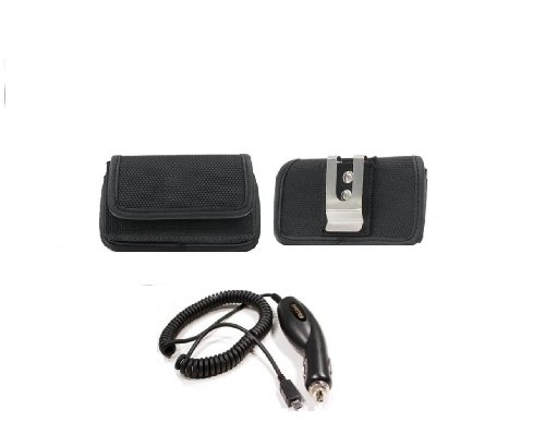Horizontal Black Velcro Carrying Case Pouch With Belt Loop And Metal Clip + Car Charger For Tmobile - T-Mobile Htc One S Ville - Metropcs Huawei Activa 4G - Cricket Huawei Mercury Glory M886 - Metropcs Huawei Activa 4G - Cricket Huawei Mercury Glory M886