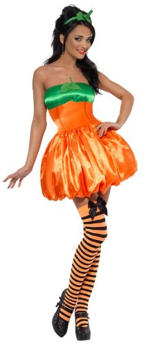 Fever Sexy Pumpkin Costume, Orange/Green, Medium