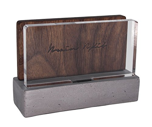 High-End Business Card Holder for Desk - Walnut Wood with Asbestos-free Concrete - Handcrafted, Artistic Design to Display Your Printed Name (Hotel Desk Folder compare prices)