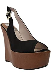 Baldan Black Satin Wedge Heel Platform Slingback