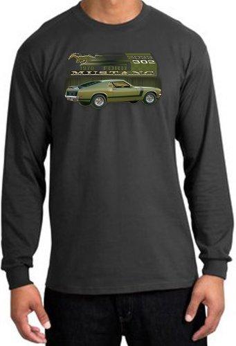 Ford Car 1970 Mustang Boss 302 Classic Adult Long Sleeve T-Shirt Tee - Charcoal, Xl