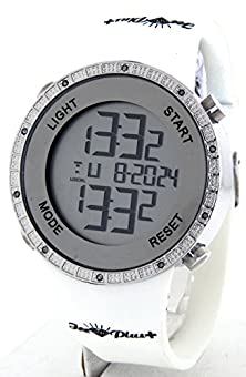buy Techno Master Ice Plus Aqua Master Mens Digital Diamond Watch Silver Case White Band G4