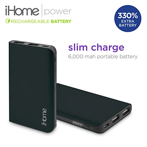New iHome Slim Charge 6000 mAh Mobile External USB Battery Pack Portable Power Bank / Charger For Cell Phone, iPhone, Galaxy, Android (Black) (Halo Juice compare prices)