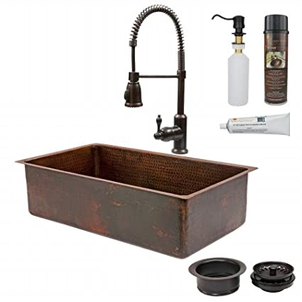 Premier Copper Products KSP4-KSDB33199 33 in. Copper Hammered Kitchen Sink with Spring Pull Down Faucet
