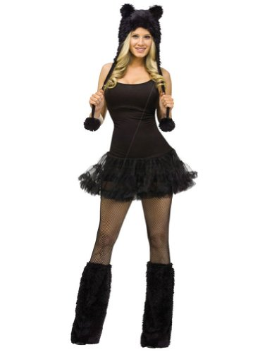 Animal Hoodie Adult Costume Black Cat Adult Womens Costume