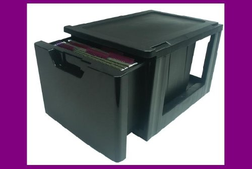 Iris Stackable Filing Drawer - Black (Black)