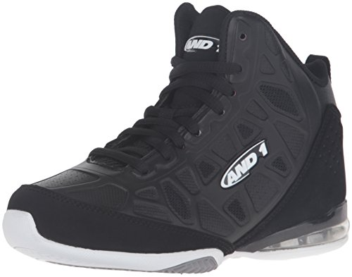 AND 1 Kids' Master 3 Mid Skate Shoe, Black/White, 5.5 M US Big Kid