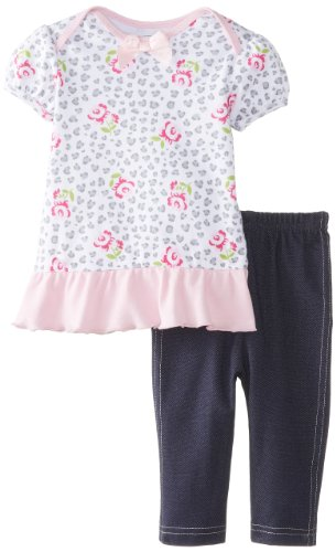 Bon Bebe Baby-Girls Newborn Animal And Floral Print Top With Jegging Pant, Multi, 3-6 Months front-1076504